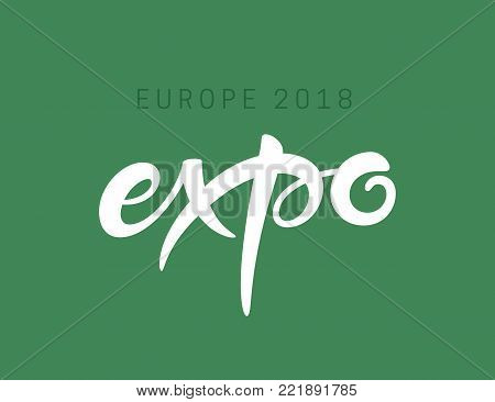 Expo text lettering vector inscription. Handmade freestyle word