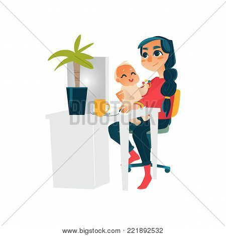 Young mother, woman, girl working from home, sitting at computer table with baby on her knees, flat cartoon vector illustration isolated on white background. Woman working from home on parental leave