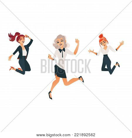 Cute women in office, corporate clothing jumping smiling set. Beautiful redhead, blonde successful business girls in formal suit dancing. Vector cartoon isolated illustration on a white background.