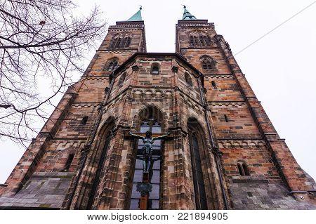 Exterior of St. Sebaldus church or Sebalduskirche medieval church in the inner city of Nuremberg, Bavaria, Germany