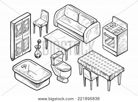Vector illustration of a hand drawn furniture set. Table, bookcase, chair, sofa, toilet, vase, bath, kitchen stove. Interior design vintage icons set.