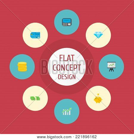 Icons flat style piggy bank, statistics, credit card and other vector elements. Set of finance icons flat style symbols also includes money, chart, jewel objects.