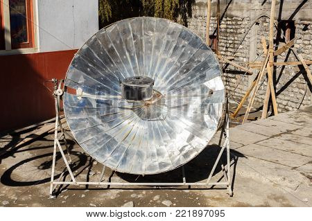 Eco-friendly solar heater for boiling water Himalayas, Nepal