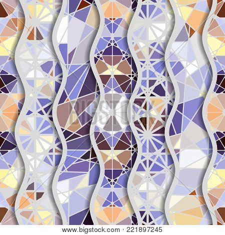 Seamless arabic geometric pattern in patchwork style. Vector traditional muslim background.