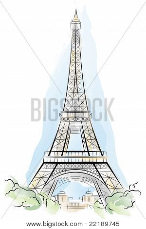 Drawing color Eiffel Tower in Paris, France. Vector illustration poster