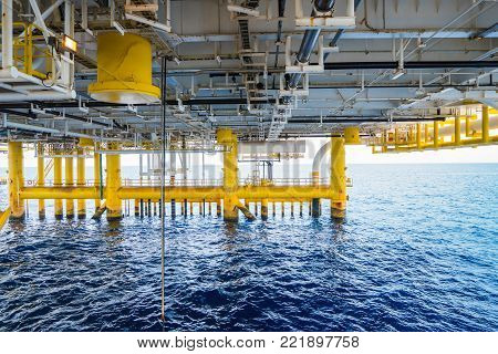 Drain deck of oil and gas central processing platform where gases and condensate from remote platform enter to the central facility.