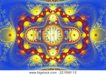Geometric fractal shape can illustrate daydreaming imagination psychedelic space universe galaxy dreams magic nuclear explosion frequency patterns radiation concepts.