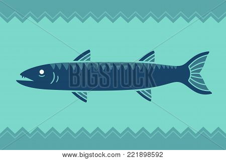 Stylized cartoon barracuda fish vector illustration with background ornament.