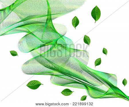 Abstract Eco Green Transparent Wavy Veil Background -  Vector Billowy Lines Net with Foliage