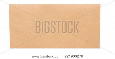 Valentine day letter. Craft paper envelope isolated on white background. Postal card, lover's holiday confession or proposal concept