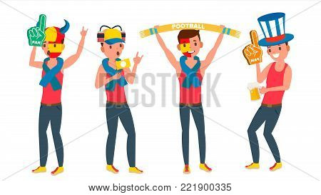 Sport Fan Watching Sport Match Vector. Football, Soccer, Hockey Sports Fans. Different Poses. Isolated On White Cartoon Character Illustration