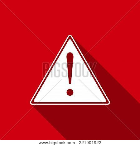 Exclamation mark in triangle icon isolated with long shadow. Hazard warning sign, careful, attention, danger warning important information sign. Flat design. Vector Illustration