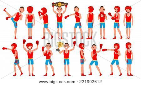 Boxer Sportsman Vector. Player Boxing. Different Poses. Sparring Match. Isolated On White Cartoon Character Illustration