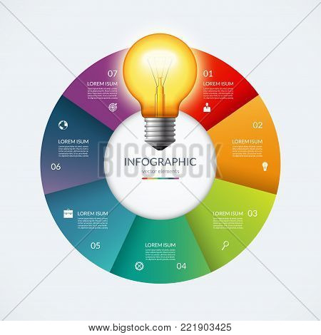 Infographic circle with glowing lightbulb. Creative idea concept with 7 options, steps, parts. Can be used for circular chart, cycle diagram, graph, workflow layout, web design. Vector illustration