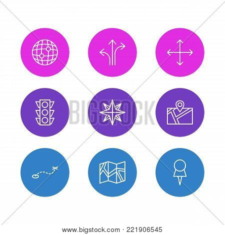 Vector illustration of 9 navigation icons line style. Editable set of paper geography, marker, signpost and other elements.