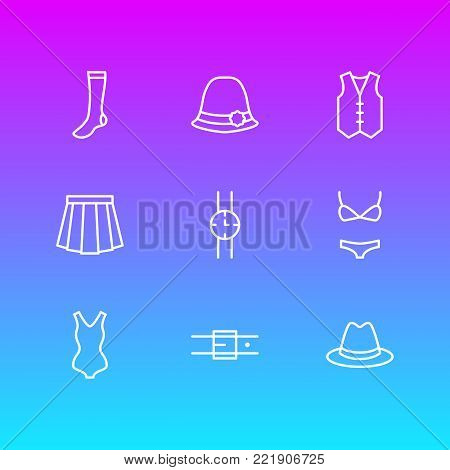 Vector illustration of 9 clothes icons line style. Editable set of waistcoat, hand clock, fedora elements.