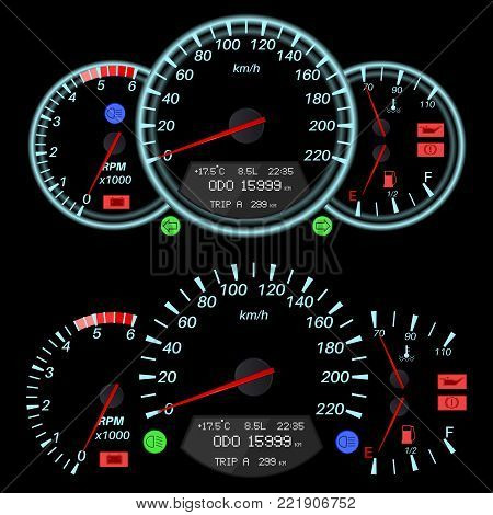 Car dashboard - speedometer, tachometer, fuel and temperature gauges. Vector illustration