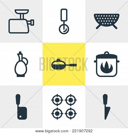 Vector illustration of 9 cooking icons. Editable set of round slicer, butcher knife, carafe and other elements.