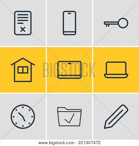 Vector illustration of 9 workplace icons line style. Editable set of edit, monitor, home and other elements.
