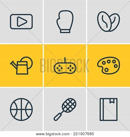Vector illustration of 9 hobby icons line style. Editable set of bailer, arabica bean, ball and other elements.