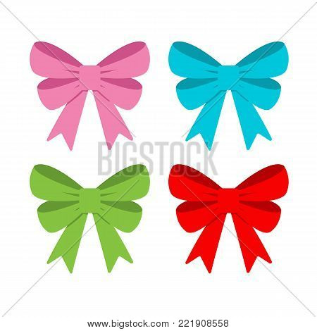 Bows in different colors. Bows ribbon in flat style. Vectos stock.