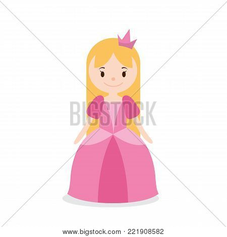 Princess cartoon isolated on white background. Cute little princess. Vector stock.