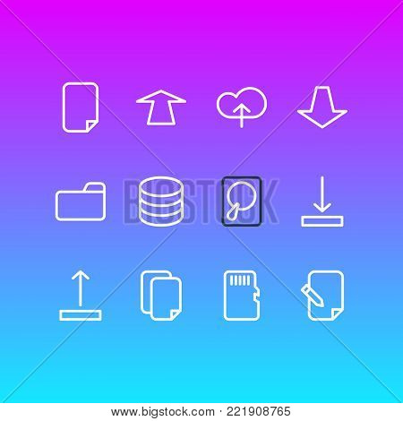 illustration of 12 memory icons line style. Editable set of datacenter, download, dossier and other elements.
