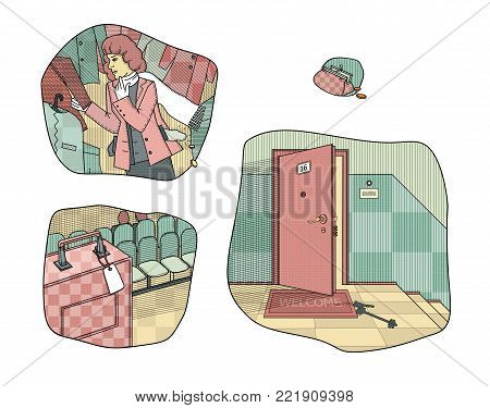 Situations provoking theft and loss of money. Keys left at the door. Broken woman in the fitting room of the store.  Left unattended suitcase.  Raster illustration.
