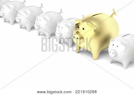 Row with piggy banks with one bigger and gold colored piggy bank, 3D illustration