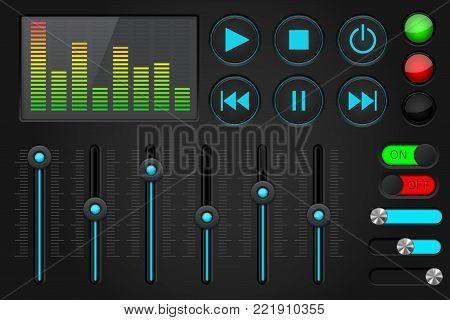 Sound control panel. Equalizer, set of media player buttons, sliders. Vector 3d illustration