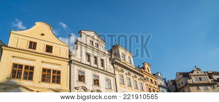 Architectural gable selection of several different gable facades on row house buildings in Prague.