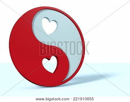 yin and yang symbol with hearts, white background (3d render)
