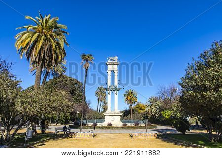 Columbus Monument In Jardines De Murillo, Seville, Spain