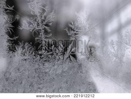 Winter Window Frost, Frost Pattern Macro Photo
