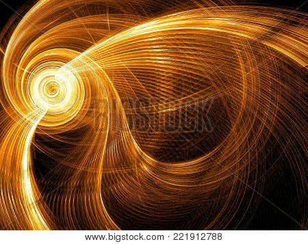 Striped golden background - abstract computer-generated image. Fractal geometry: bright spiral with curled rays and light effects. For desktop wallpaper or web design.