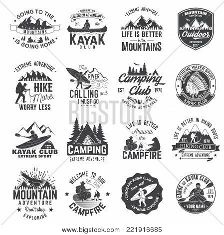 Set of canoe, kayak, hiking and camping club badge. Vector illustration. Concept for shirt, print, stamp or tee. Vintage typography design with mountain camp and kayaker silhouette. Extreme adventure.