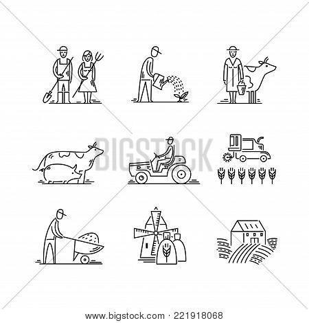 Line icons farming and agriculture Agronomy symbols, people, animals, farm field, agricultural equipment, tractor transport.