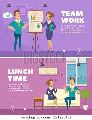 Office staff teamwork and lunchtime conversation 2 horizontal retro banners with personnel cartoon characters isolated vector illustration