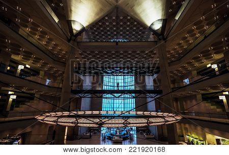 Doha city, Qatar - January 02, 2018: Classy main hall interior of the popular Museum of Islamic Art in Doha city, Qatar