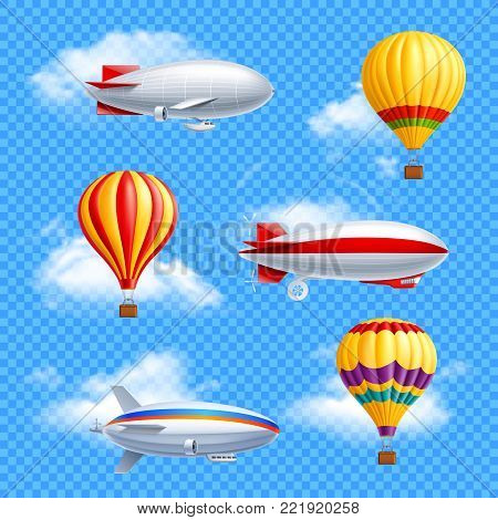 Realistic colored airship icon set air balloons and dirigible on transparent background vector illustration