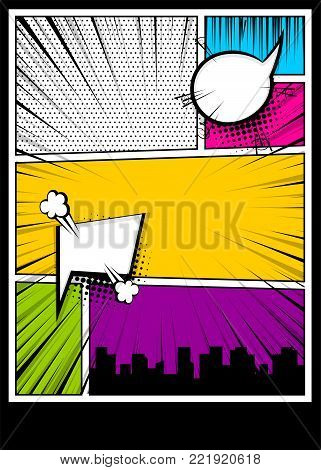 Blank humor graphic. Pop art comics book magazine cover template. Cartoon funny vintage strip comic superhero, text speech bubble balloon, box message, burst bomb. Vector colored halftone illustration