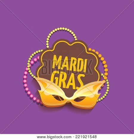 vector new orleans mardi gras vector background with carnival mask and text. vector mardi gras party or fat tuesday purple poster design template with space for text