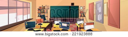 Modern flat illustration. Education background. Empty school classroom. Classroom interior. Meeting room