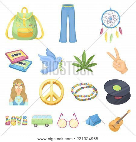 Happy and attribute cartoon icons in set collection for design. Happy and accessories vector symbol stock  illustration.