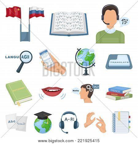 Translator and linguist cartoon icons in set collection for design. Interpreter vector symbol stock  illustration. poster