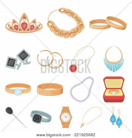 Jewelry and accessories cartoon icons in set collection for design.Decoration vector symbol stock  illustration.