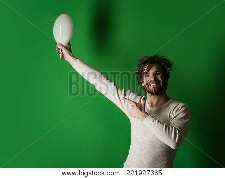 Happy Guy Has An Idea On Grey Background, Morning.
