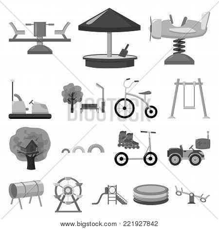Playground, entertainment monochrome icons in set collection for design. Attraction and equipment vector symbol stock  illustration.