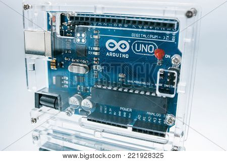 Ukraine, Kharkiv, 05.03.2017. Arduino Uno - this is a small breadboard with its own processor and memory. Is good for building prototypes of electronic devices.