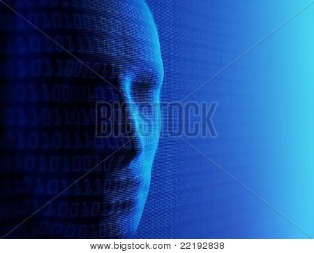Conceptuele achtergrond-kunstmatige intelligentie / mens en cyber-business (gedetailleerd met miljoenen o